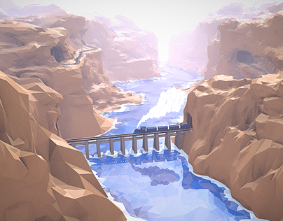"WIP - ""Low Poly"" Train Canyon"
