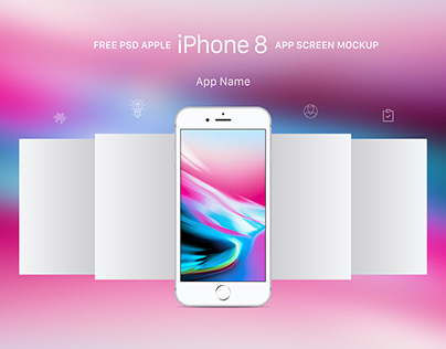 Free Apple iPhone 8 App Screen Mockup PSD