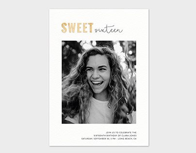 Sweet Sixteen Photo Card Template - Sweet Gold