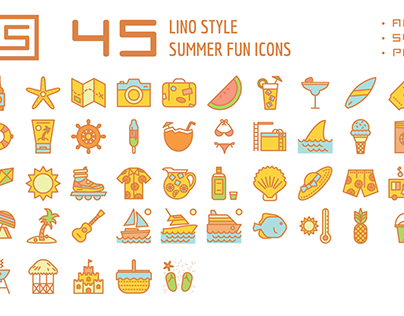 Summer Fun Lino Icons