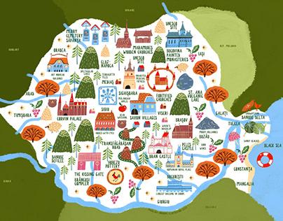 Romania - a touristic map