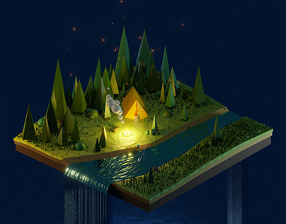 In the woods: lowpoly landscape