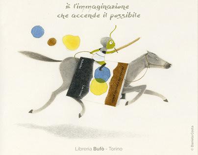 A cavallo delle storie- illustrazione per shopper Bufò