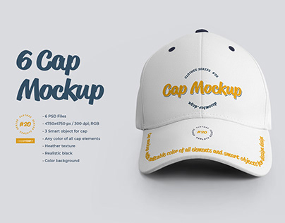 6 Cap Mockup (1 Free) by december.dsgn