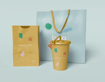 3D Paper Bag Mockup