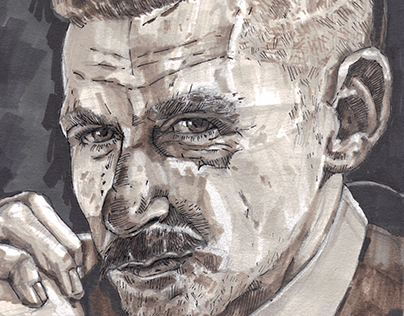 Portrait of Arthur Shelby in Peaky Blinders
