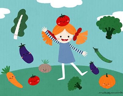 Patty.. veggies and fruits