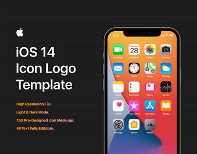 iOS 14 Icon Template Mockup - PSD