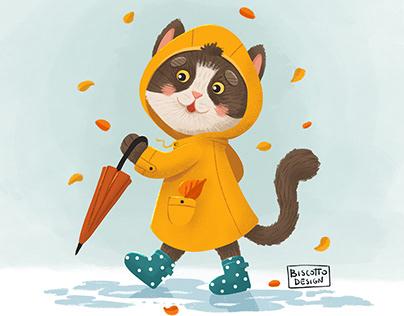 Cute cat in yellow raincoat