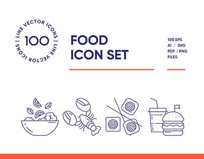 Food & Drinks Line Icon Set