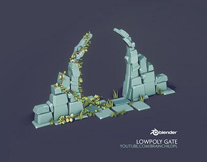 Low Poly Style | Flat Shading - Fantasy Gate / Entrance