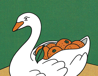 Swan and clementines
