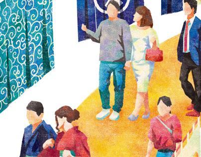 三井不動産「日本橋ごよみ」(2019年10月号)表紙イラストレーション