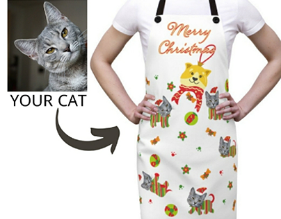 Christmas cat apron