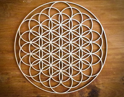 geometry: flower of life 2D - wood