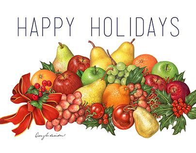 Christmas Fruit Illustration