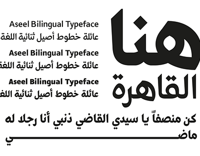 Aseel 3 weights Bilingual Typeface