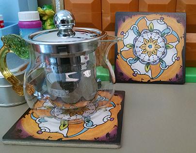 Tea Mandala and Coaster design