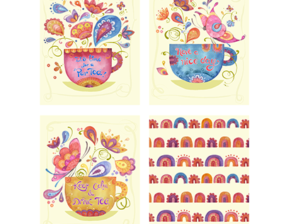 Art Licensing collection 2 CUP OF FLOWERS