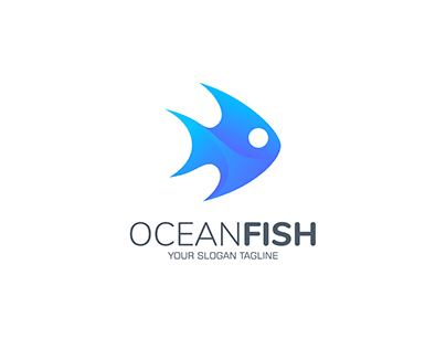 3D Blue Fish Logo