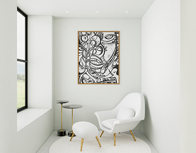 A collection of paintings interior graphics.