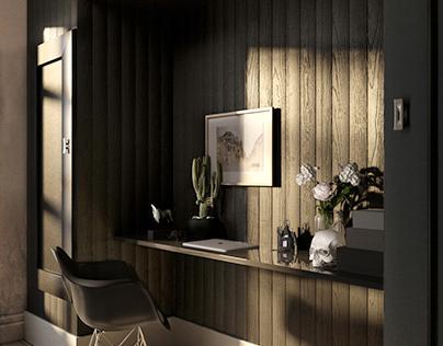 Визуализация рабочего пространства в гостиной