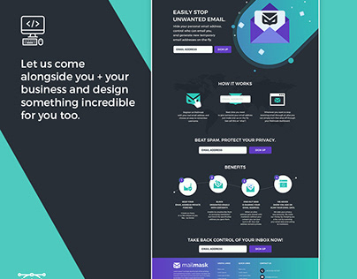 Design an awesome homepage for Mailmask