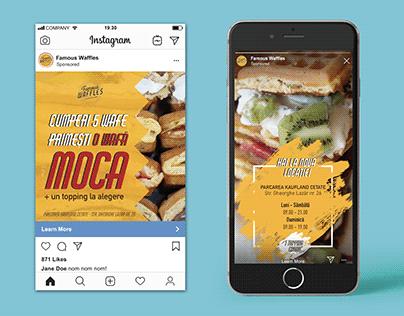Leaflet & Social Media Ads for a waffle shop