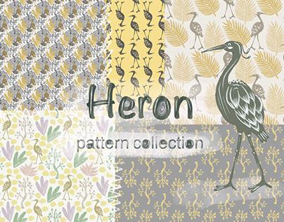 Heron seamless pattern set