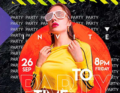 Free Time to Party Invitation Template in PSD