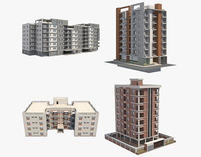 4 Apartment Buildings Set_10