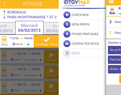 Conception UX/UI iDTGV Max iPhone iOS et Android apps
