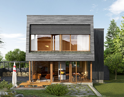 House with grey wooden cladding