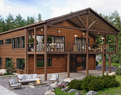 Mountain cabin renovation, exterior and interior images