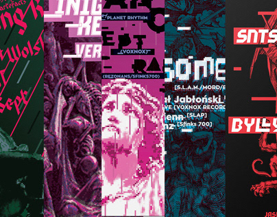 Techno music gig posters