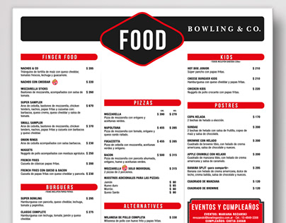 Bowling&Co - Showcase -Menu