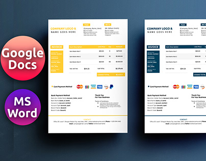 Google Docs + Ms Word Format Invoice Template