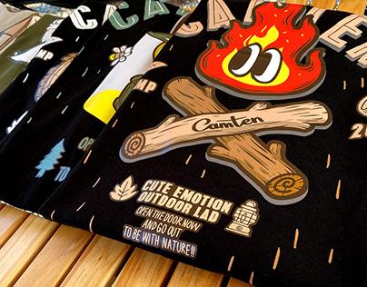 Cute emotion outdoor brand 'CAMTEN' T-shirts