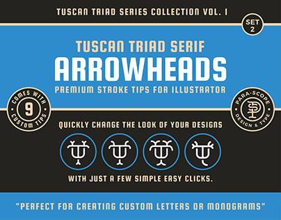 Tuscan Triad Serif Arrowheads Set 2 - Stroke Tips