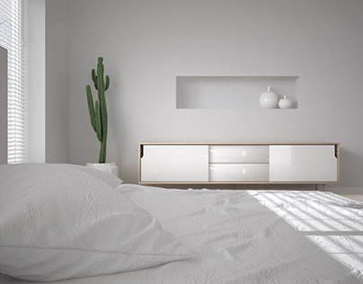 CGI: Just a minimal, white, bedroom...