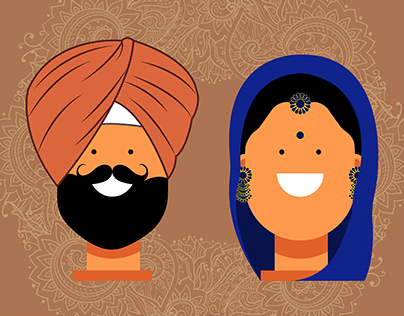 Punjabi Couples - Flat Character Design