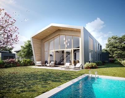 3D Render Modern Villa