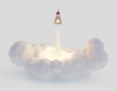 Rocket launch - lowpoly