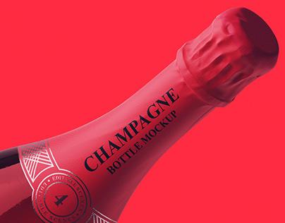 Champagne Bottle Mockup+Free Version