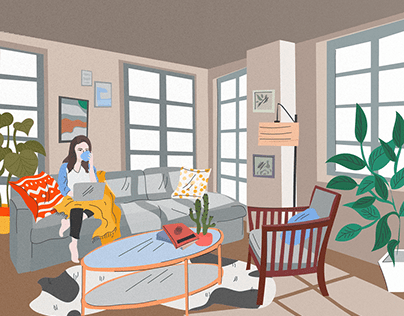 Girl in a cozy apartment