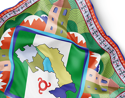 Shawl illustration design with symbols of the Republic