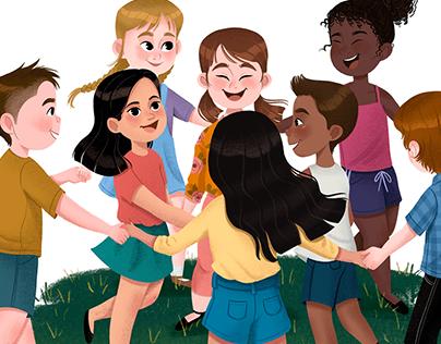 Ilustração Editorial: Crianças Brincando