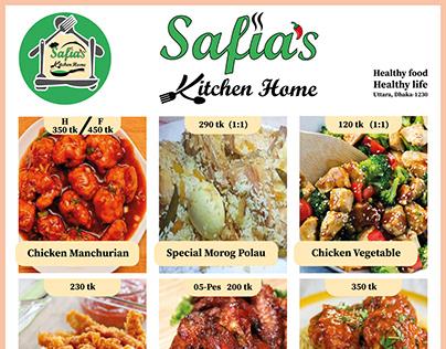Safias Kitchen Home | Menu Card