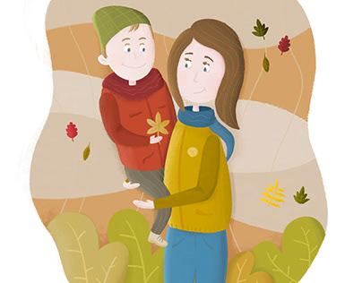 Ilustracja - Jesienny spacer