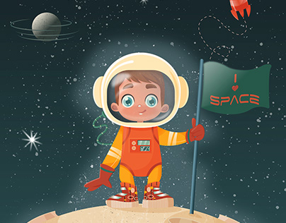 space boy . children's book cover illustration